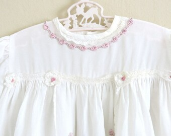 Vintage Long Christening Dress Ivory Rayon Pink Rose Lace Accents 9 to 12 Months 850b