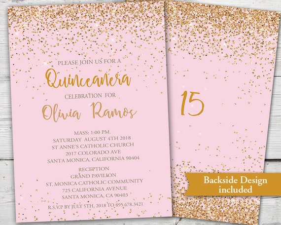 Pink and gold quinceanera invitation quinceanera invites gold and il570xn stopboris Choice Image