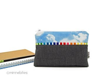 Rainbow Purse - Cloudy Day Small Purse - Fabric Pouch - Makeup Organizer - iPhone Wristlet - Gift for Teen Girl Birthday - Ready to Ship