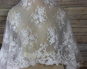 White Lace Embroidery Fabric with Seed Beads and scalloped edges on both sides. Bridal Wear-Formal Gowns-Veils-Gloves-Cape Bolero Shrug