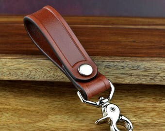 Leather Key Fob, Leather Belt Keychain, Leather Keychain, Leather Fob - Saddle Brown