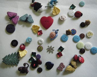Lot of 47 Buttons/ Animals, Holiday Whimsical Designs
