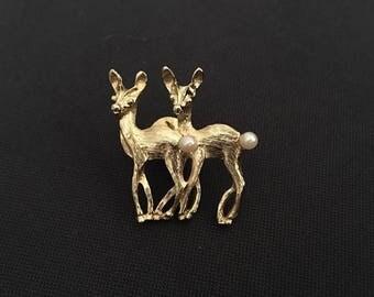 Vintage Gold Deer Pin