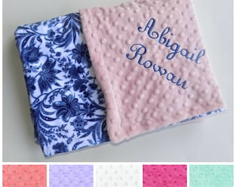 SALE Monogrammed Minky Baby Blanket, Royal Blue and White Floral Damask - Flowers, Personalized, Baby Girl Blanket with name Newborn. Pink