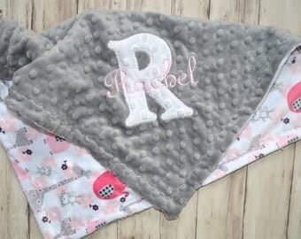 Minky Lovey Baby Blanket - 18 inch Pink and Gray Elephant Animal Print  -  Monogrammed, Personalized Newborn