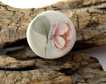 Pink Magnolia Flower Ceramic Coin Pendant
