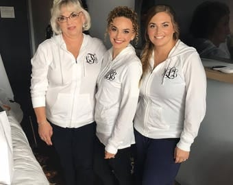 Getting ready hoodie. Bride an maid of honor getting ready shirts. Wedding morning shirts. Monogrammed hoodies. Gift for her idea. Bride