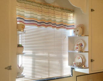 TOWELING STRIPES VALANCE  Cotton 42 x 13  Retro Kitchen Border stripe Window Curtain