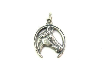 Horse Pendant. Sterling Silver Horseshoe & Horse Head Profile. Good Luck, Seven Nails. Vintage 1960s Lucky Charm Equestrian Gift