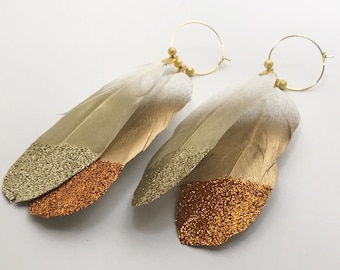 Copper and Gold Glitter Feather Earrings, Dipped Feathers Painted Plumes, Gold Feather Hoops