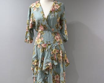 Vintage Gauzey Blue Floral Dress Womens Size 12 Pastel 3/4 Sleeve V Neck Midi