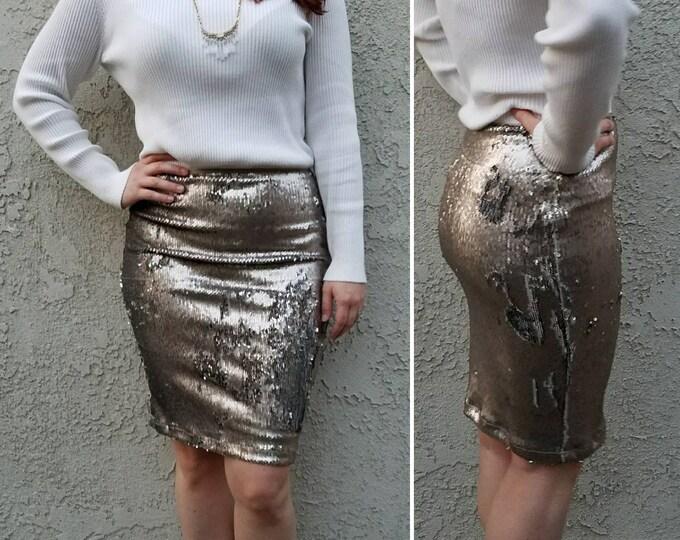 New! Matte Gunmetal Flip Sequin Skirt - Stretchy, beautiful knee length skirt (Small, Medium, Large, XLarge)  Ships asap!