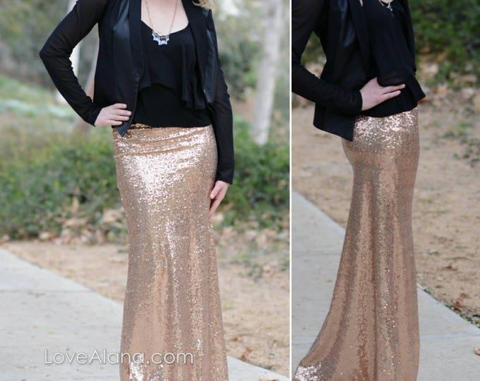 Free Shipping! Champagne/RoseGold - Gorgeous Medium quality sequins- Long sequined skirt (S,M,L,XL)