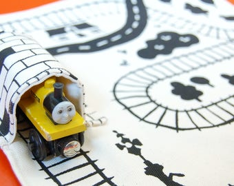 Organic Train Playmat, Eco Friendly Boys Gift, Train Play Mat, Organic toy, waldorf toy, kids travel gift, travel game, pretend play,