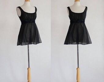 ON SALE Black Babydoll / Sheer Lingerie / Black Camisole / Vintage Lingerie / Vanity Fair / Sheer Top