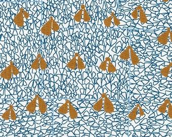 Gleaned Wings in Blue, Carolyn Friedlander, Robert Kaufman Fabrics, 100% Cotton Fabric, AFR-17290-4 BLUE