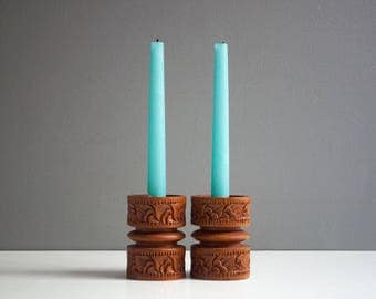 Vintage Carved Wood Candle Holders