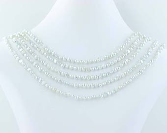 """5-Strand Gray Freshwater Pearl Necklace Beaded Sterling Silver 17""""-19"""" Poly1100"""