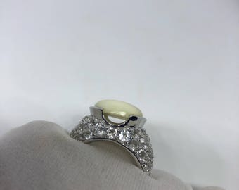 Antique White mother of pearl fillgree white sapphire sterling silver ring