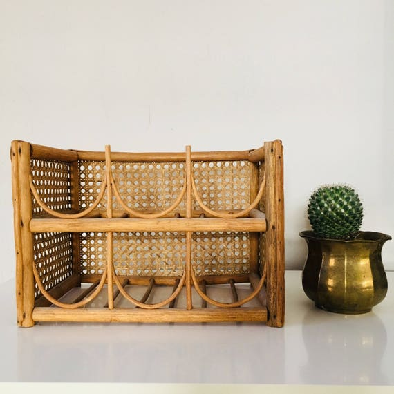 Vintage Rattan Wine Rack Countertop Bottle Storage Holds (6) Bottles Boho Decor Bohemian Wine Storage