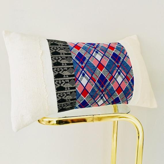 """Vintage Blue Argyle Pillow Cover 14""""x24"""" Lumbar Cushion Pillow Retro Red White Blue Striped Argyle Black Metallic Gold Tribal White Mudcloth"""