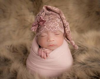 Newborn Mauve Lace Bow Sleep Cap, Baby girl, sleepy cap, stocking cap, photography prop, ready to ship, mauve, bow, lace