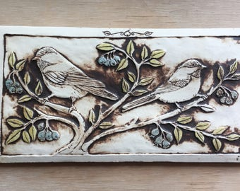 Chickadees with blueberries ceramic tile