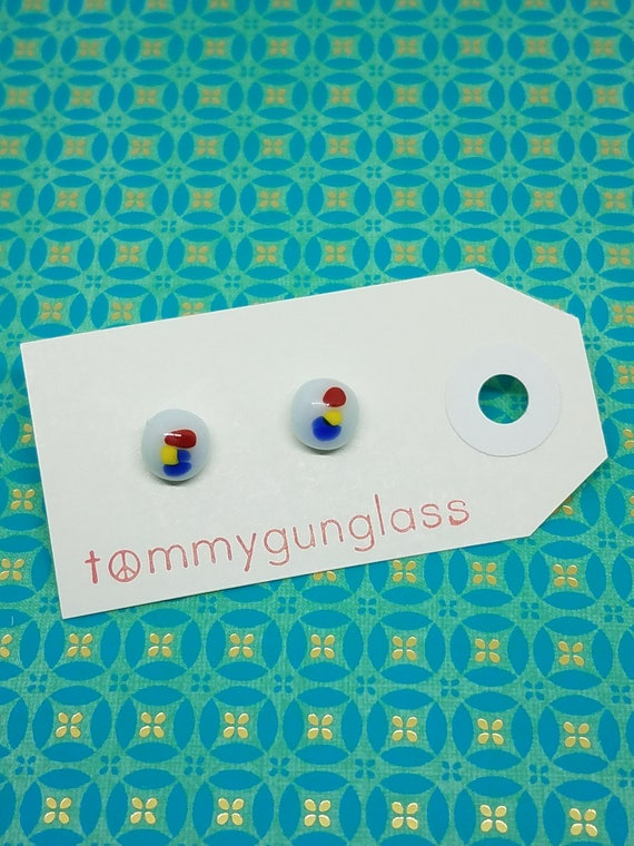 Modern Art Speckled Glass Stud Earrings