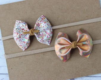 Rose Gold + Cotton Candy {HARPER} Bows - Set of 2 - Autumn 2017