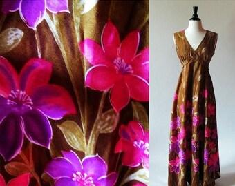 1/2 Off SALE Vintage 60s Maxi Dress, Flower Print Dress, Brown Cotton Dress, Long Summer Dress, MOTHER'S Day Sale