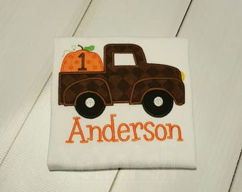Brown Pumpkin Truck Shirt with Number-Boys Fall or Thanksgiving Shirt--Embroidered shirt or Bodysuit