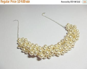 30% OFF SALE thru Mon Cream Pearl Cluster Necklace, Christmas Gift, Bridesmaid Valentines Mothers Day Wedding Mom Sister Grandmother Jewelry