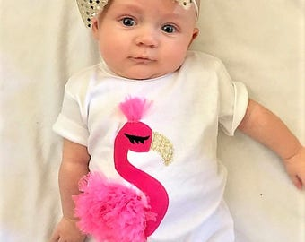 2 piece Show stopper - Baby, infant girl tropical flamingo onesie pink ruffle applique, fancy feather, headband bring baby home, baby shower