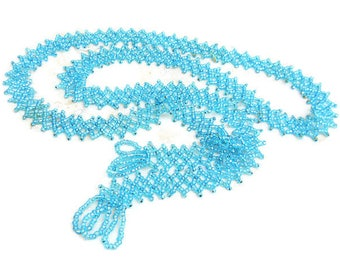 Vintage Turquoise Glass Beaded Flapper Necklace