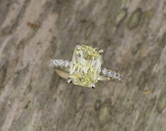 Radiant Cut Yellow Sapphire 3.87ct Diamond Accented Engagement Ring, Yellow Diamond Alternative
