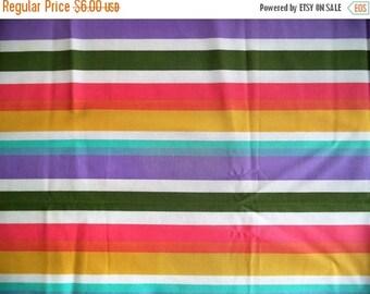 "ON SALE Pastel stripe fabric/ vintage rainbow pastel striped fabric/ Measures 1yd & 11"""