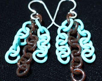 Turquoise & Amber Glass Chain Earrings