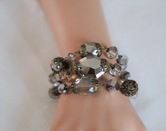 Crystal Bracelet, Multi strand Bracelet, linked gray crystals bracelet, Layered Bracelet, Gift for her, Everyday use, Beaded bracelet