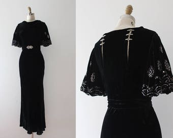 INCREDIBLE vintage 1930s gown // 30s black velvet evening gown with rhinestones and beadwork