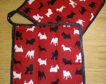2 pc Red Scottie and Poodle Dog Hot Pad Pot Holder set