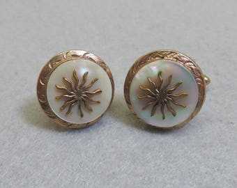 Gold Plated Retro Cuff Links, Sun Decorated  Mother of Pearl Cufflinks, Vintage Cufflinks
