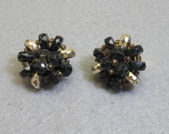 Black and Gold Beaded Clip On Earrings, Plastic Bead Clip On Earrings