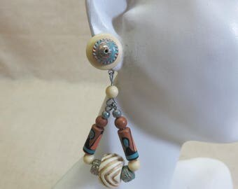 Pierced Earrings, 1980s Plastic and Wood Look, BIG Ethnic Style