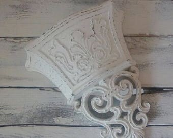 Vintage Sconce, Off White Pocket Sconce, Wall decor, French Provincial, Shabby Cottage chic, Home decor