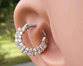 Clear Crystal Daith Piercing Rook Earring Hoop Silver Clicker