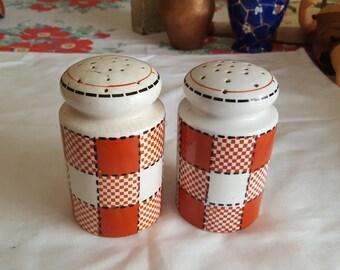 Japan Kikusiu Checkers  Salt and Pepper Shakers.