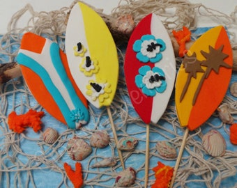 Edible SURFBOARD Cake Toppers READY  to use on your cakes! mix colors, made of Vanilla Fondant