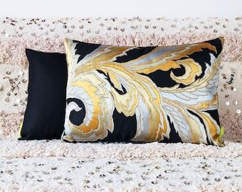 Gold Silver Pillow, Black Silk Kimono Cushion, Vintage Japanese Obi Pillow, Upcycled Antique Textile, Oriental Asian Decor Luxury Eco Gift