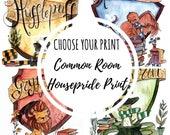 "CHOOSE Housepride Print ""Common Room Feel"" - Hogwarts Art - Fandom art print - Harry Potter Painting- Book lovers - Gifts for Booknerds"