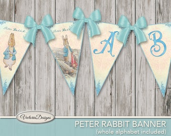Printable Peter Rabbit Banner Bunting Beatrix Potter party banner diy paper crafting instant download digital collage sheet - VDBABP1721